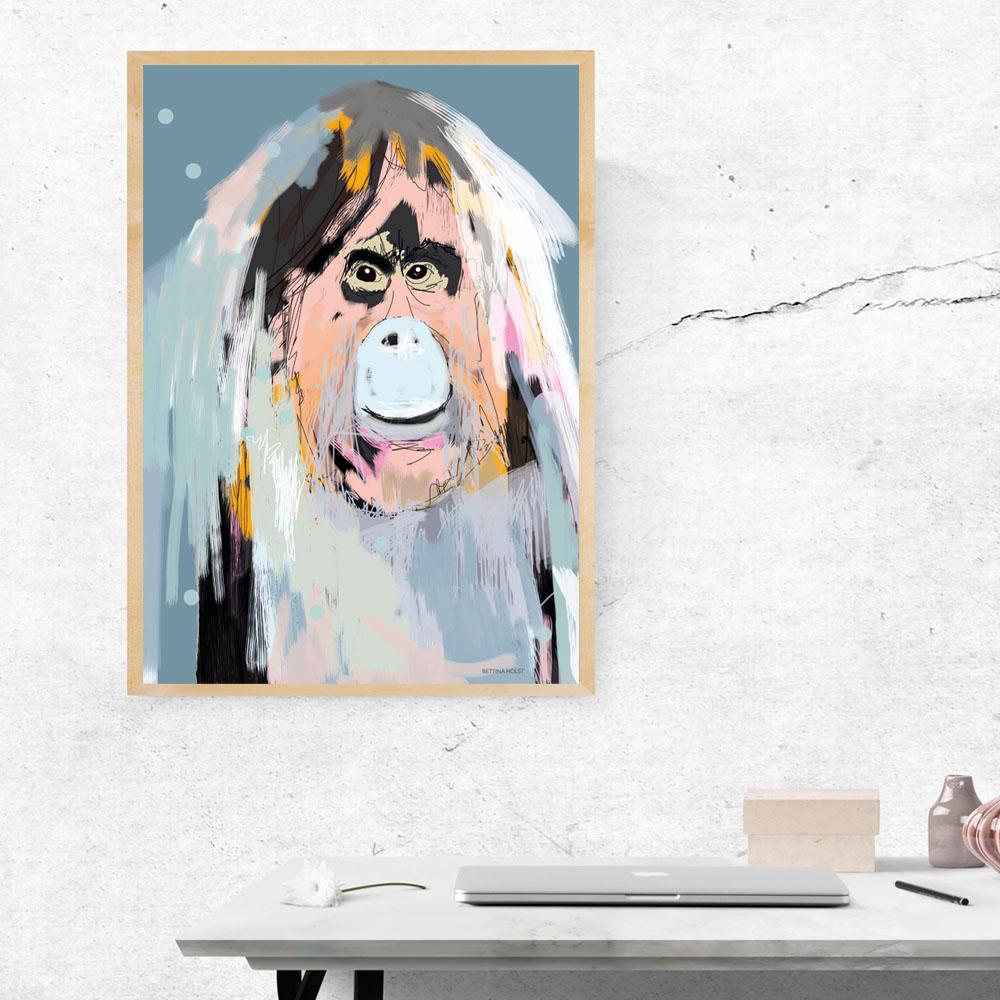 Plakat Orangutang - blå