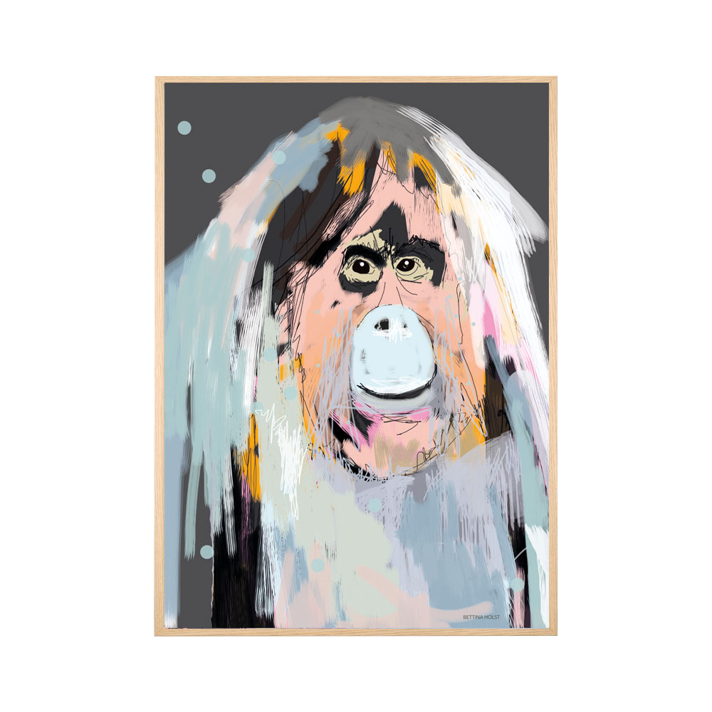 Plakat Orangutang - mørkegrå